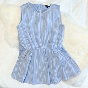 J. Crew Pleated Peplum Powder Blue Tank